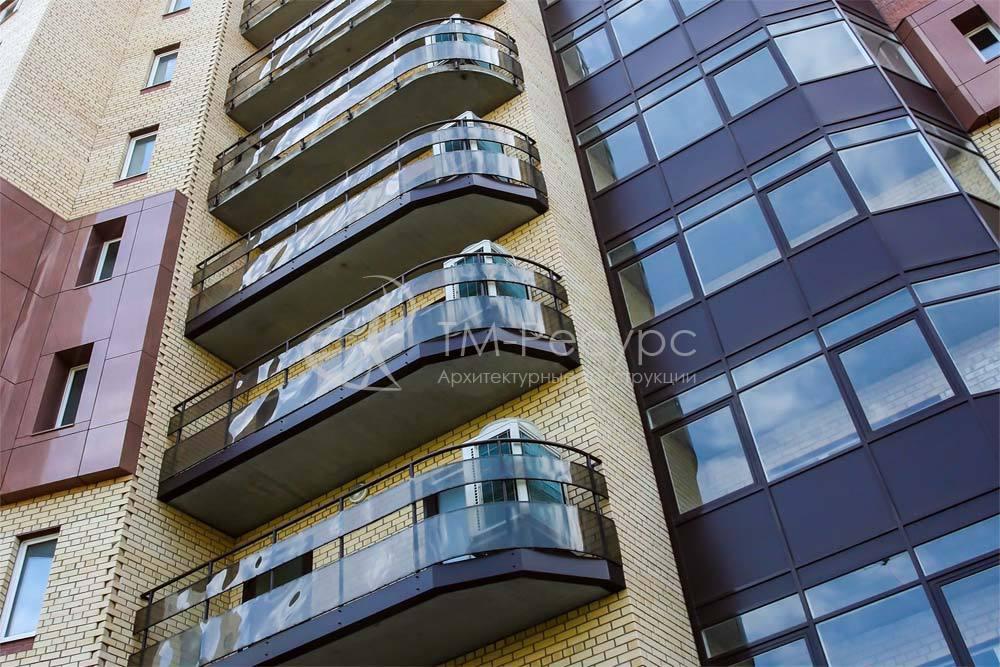 """Ограждения балконов - жилой дом """"ладья""""."""